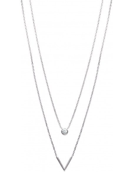 Collier Argent / 2 Rangs / Strass + V